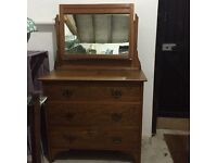 Vintage solid dressing table/chest of drawers