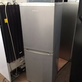 Silver BEKO frost free H 150cm W 55cm fridg freezer good condition with guarantee bargain