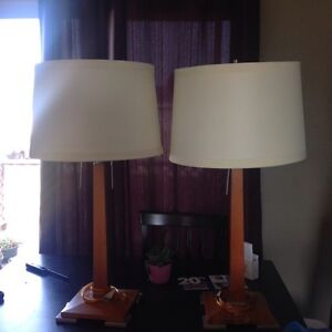2 wood lamps for $45