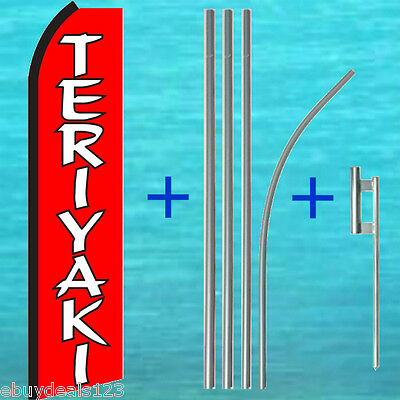 Teriyaki Red Swooper Flag 15 Tall Pole Mount Kit Flutter Feather Banner Sign