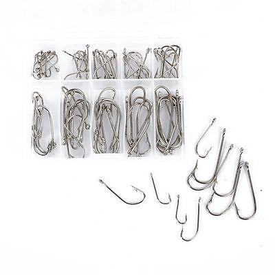 Set 100pcs Eyed Fish Hooks Fishing Tackle Box 10 Sizes Stainless Steel UK STOCK