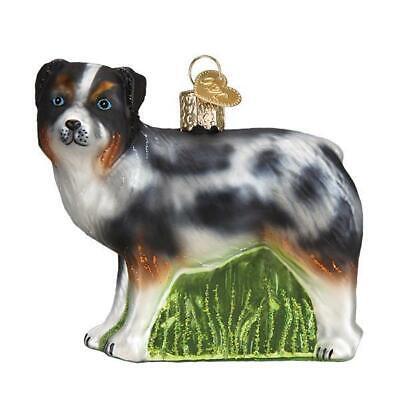AUSTRALIAN SHEPHERD DOG CANINE OLD WORLD CHRISTMAS GLASS ORNAMENT NWT 12550 Australian Shepherd Christmas Ornament