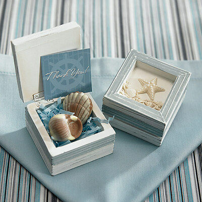 Set of 12 Beach Wedding Guest Favor Gift Starfish Topped Wooden Trinket Boxes (Wedding Guest Gift)