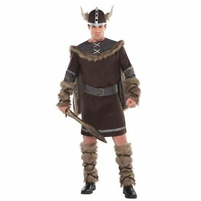 Deluxe Viking Costume (Adults Deluxe Barbarian Viking Costume Mens Warrior Fancy Dress Outfit)