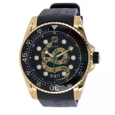 New Gucci Dive Black Dial Gold-Tone Rubber Strap Men's Watch YA136219