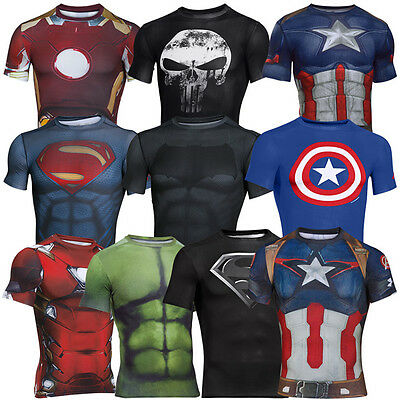 UNDER ARMOUR SUPERMAN BATMAN CAPTAIN AMERICA COMPRESSION SHIRT HERREN SUPERHELD (Superhelden Kostüme)