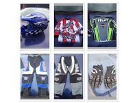 Kids motorbike helmet, goggles, gloves, tops and trousers £40 the lot !!