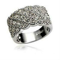 Full Rhinestone Ring Stainless Band Size 6.5