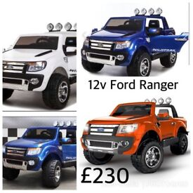 Ford Ranger In White Or Blue Or Orange & Red Parental Remote & Self Drive