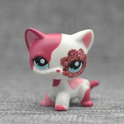 "Littlest Pet Shop LPS 2"" Short Hair Pink Sparkle Glitter Cat Kitty #2291 Toy"