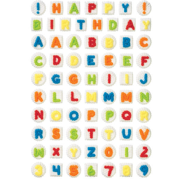 Alphabet and Numerals Icing Decorations from Wilton 2734 NEW