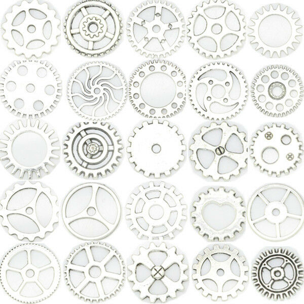 50x Vintage Steampunk Alloy Clock Gear Wheel Pendant Charms Jewelry Findings