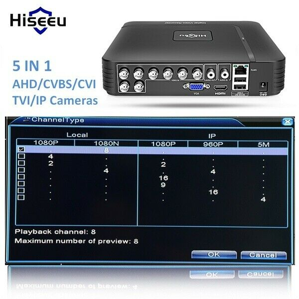 5 in 1  8 Channel H.264 Standalone 1080N CCTV Analog AHD DVR NVR Home Security
