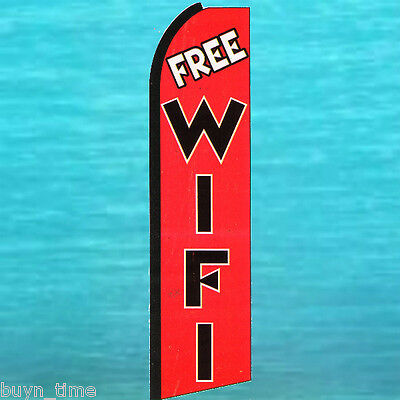 Free Wifi Wi Fi Tall King Size Flutter Flag Feather Swooper Wind Banner Sign