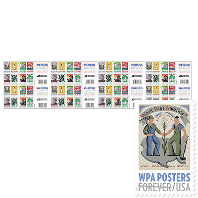 USPS New WPA Posters Press Sheet with Die Cuts