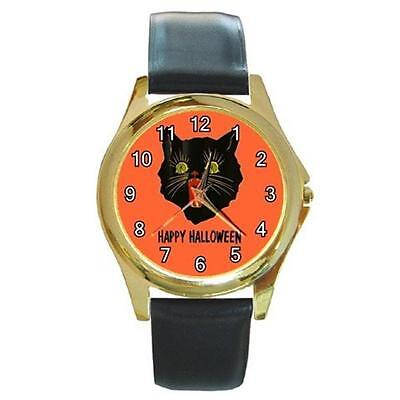 HALLOWEEN BLACK SCARDY CAT GOLD-TONE WATCH 9 STYLES STAINLESS SPORTS CHARM, ETC.](Watch Halloween 9)