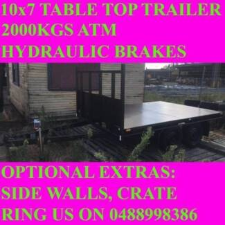 10x7 table top tandem trailer flatbed 2000kgs also got 10x5 10x6