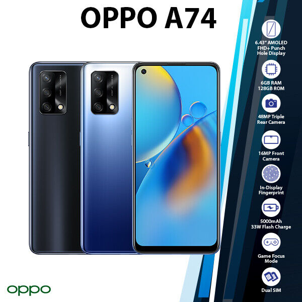 Android Phone - OPPO A74 Black Blue Octa Core Android 6GB+128GB Mobile Phone (New & Unlocked)