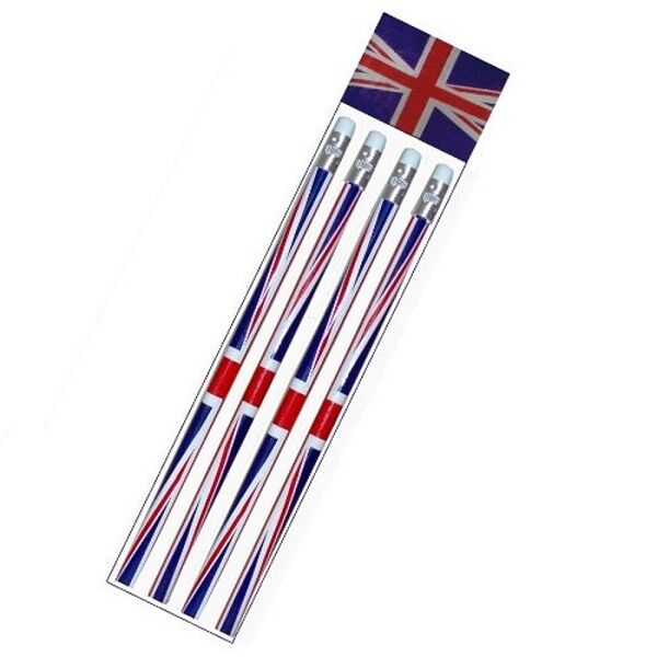 4 X Packs of 4 Union Jack Pencils (16 pencils) with Erasers Rubbers