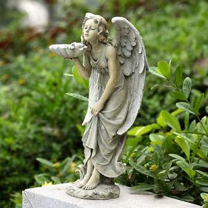 Angel holding seashell birdfeeder kissing bluebird 18 034 for Koi holding pool
