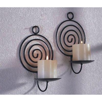 2er Set Kerzenhalter Wandkerzenhalter Halter Kerze Spirale Metall Schwarz