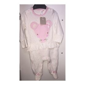 New with tags mouse babygrow/sleepsuit