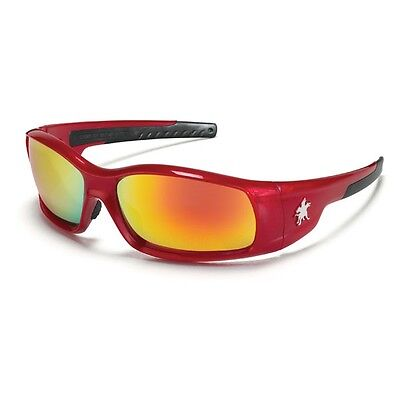 Crews Sr13r Mcr Swagger Safety Glasses Red Frame Fire Mirror Lens