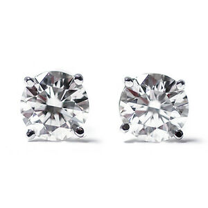 1/4 Ct Round Cut 14K White Gold Diamond Stud Earrings