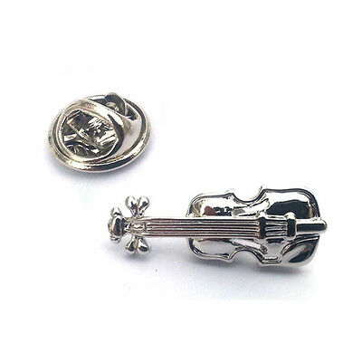 Silver Violin LAPEL PIN BADGE Music Instrument Fiddle Player Present GIFT BOX - Fiddle Pin