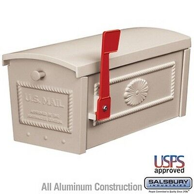 Salsbury Industries 4550BGE Townhouse Mailbox - Post Style - Beige NEW Townhouse Post Mount