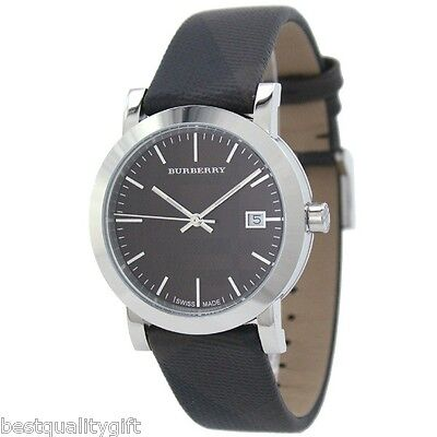 BURBERRY SWISS ENGRAVED DIAL SILVER+SMOKE,BROWN PVC FABRIC CHECK WATCH BU1775 for sale  Shipping to India