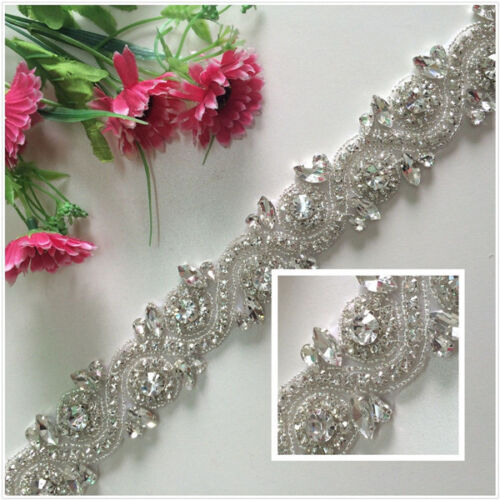 TRLYC White Ribbon Sash Bridal Wedding Dress Rhinestone Beaded Crystal Sash Belt