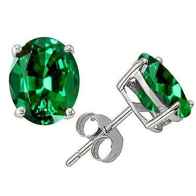 1.00 CARAT 6x4mm 14K SOLID WHITE GOLD EMERALD OVAL SHAPE STUD EARRINGS PUSH 4mm Square Shaped Earring