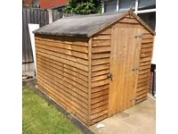 Pre-owned- nearly new 8x6 Wooden Overlap Garden Storage Shed Single Door Apex Roof