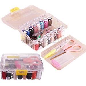 40Pcs Sewing Kit Thread Threader Needle Tape Measure Scissor Thimble Storage Box