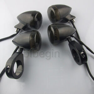4x-20LED-Motorcycle-Turn-Signal-Light-Black-41mm-Clamp-For-Harlye-Bobber-Chopper