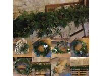 Fresh foliage wreaths and garlands