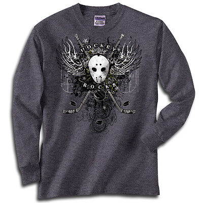Hockey Wings T-Shirt Jersey Long Sleeve or Short Sleeve New Youth or Adult Sizes