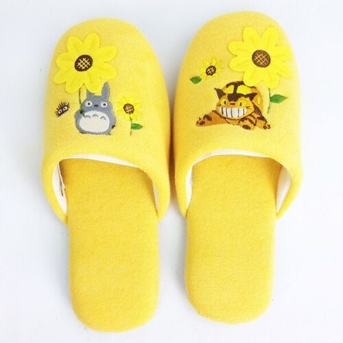 My Neighbor Totoro Cat Neko Bus Studio Ghibli Sunflower Indoor Plush Slippers
