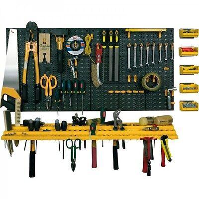Werkzeug-Lochwand mit Schluesselloch-Lochung + Haken + Konsolen + Sichtboxen