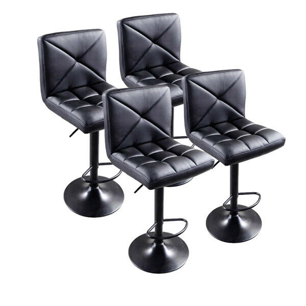 Bar Stools Set of 4 Swivel PU Leather Adjustable Counter Height Pub Chairs Black