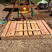 Wooden Sandbox with benches