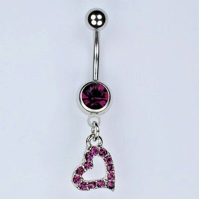 Heart Dangle Belly Button Ring PURPLE Birthstone Navel Piercing Jewelry (A31)