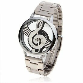 Stylish Bolun Hollow Dial Note Patterned Dots Hour Marks Stainless Steel Wrist Watch