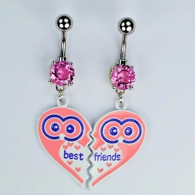 Best Friends Friend Dangle Belly Rings Owl BFF Besties Navel Piercing Jewelry (Best Belly Piercing Jewelry)