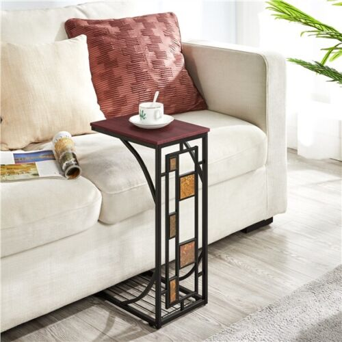 2 Pcs C Shaped Sofa Side End Tables Under Sofa Coffee Tray Living Room Set of 2 6