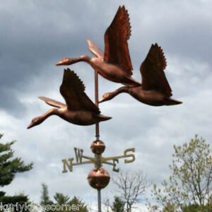 COPPER-FLOCK-OF-GEESE-WEATHERVANE-MADE-IN-USA-354