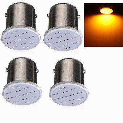 4pcs Amber 1156 89 Ba15s 12 chips COB LED Turn Signal Rear Light Car Bulb Lamp