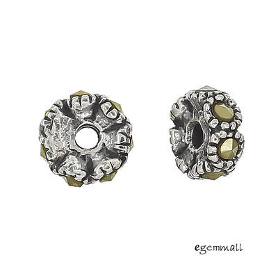 2 Sterling Silver Marcasite Rondelle Spacer Beads 6mm #97973