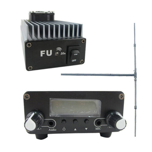 Fu-30e 30w FM Amplifier Broadcast Transmitter 0.5w Exciter Dipole Antenna Kit